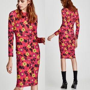 Zara Floral Bodycon Stretch Midi Dress, Red